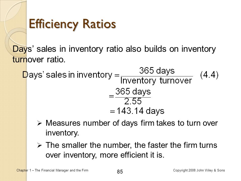 85 Chapter 1 – The Financial Manager and the FirmCopyright 2008 John Wiley & Sons Days' sales in inventory ratio also builds on inventory turnover rat