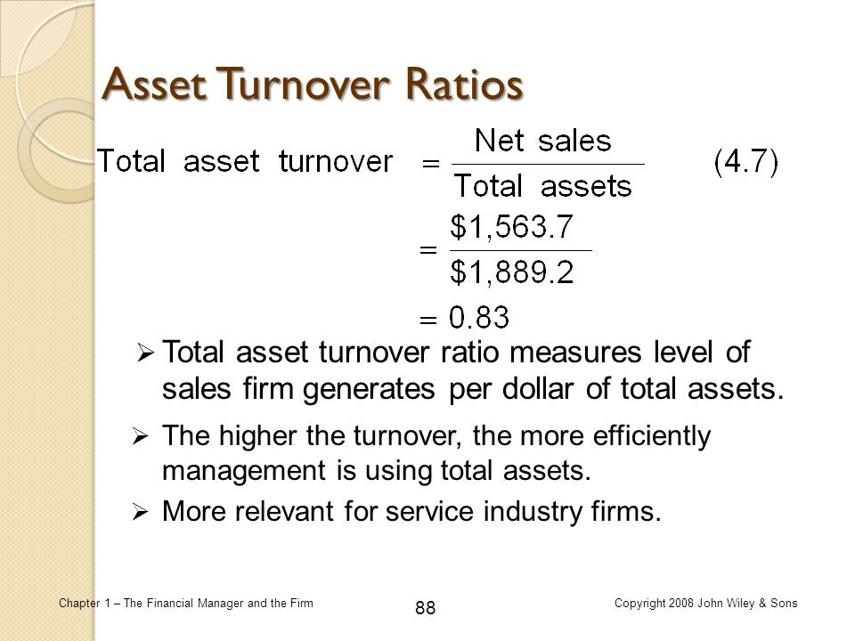 88 Chapter 1 – The Financial Manager and the FirmCopyright 2008 John Wiley & Sons  Total asset turnover ratio measures level of sales firm generates