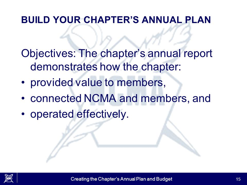 Creating the Chapter's Annual Plan and Budget 15 BUILD YOUR CHAPTER'S ANNUAL PLAN Objectives: The chapter's annual report demonstrates how the chapter