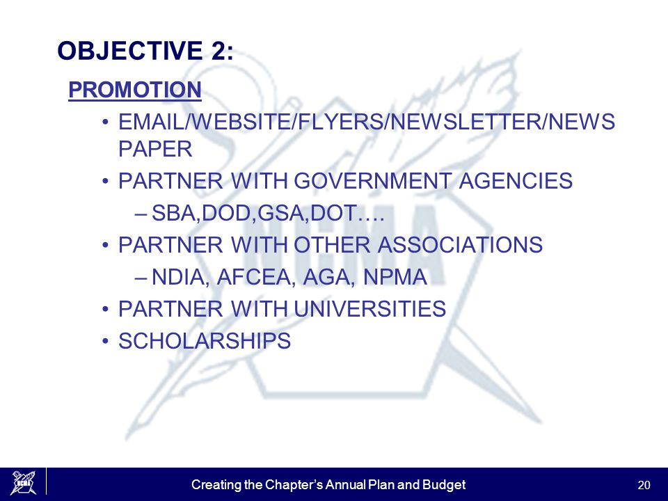 Creating the Chapter's Annual Plan and Budget 20 OBJECTIVE 2: PROMOTION EMAIL/WEBSITE/FLYERS/NEWSLETTER/NEWS PAPER PARTNER WITH GOVERNMENT AGENCIES –S