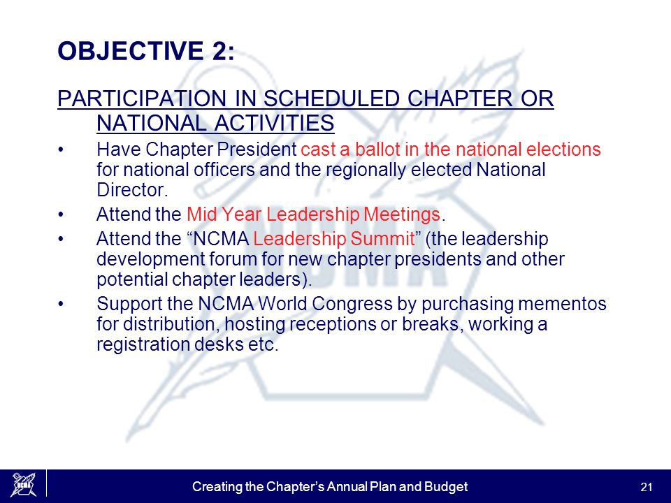 Creating the Chapter's Annual Plan and Budget 21 OBJECTIVE 2: PARTICIPATION IN SCHEDULED CHAPTER OR NATIONAL ACTIVITIES Have Chapter President cast a