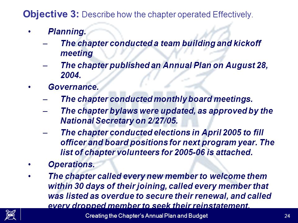 Creating the Chapter's Annual Plan and Budget 24 Objective 3: Describe how the chapter operated Effectively. Planning. –The chapter conducted a team b
