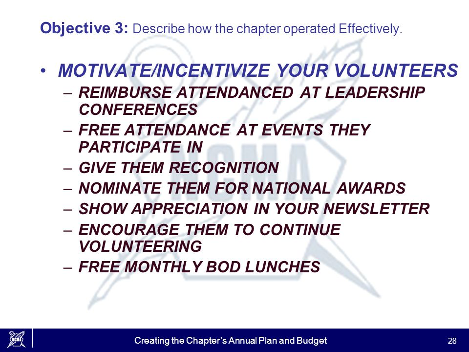 Creating the Chapter's Annual Plan and Budget 28 Objective 3: Describe how the chapter operated Effectively. MOTIVATE/INCENTIVIZE YOUR VOLUNTEERS –REI