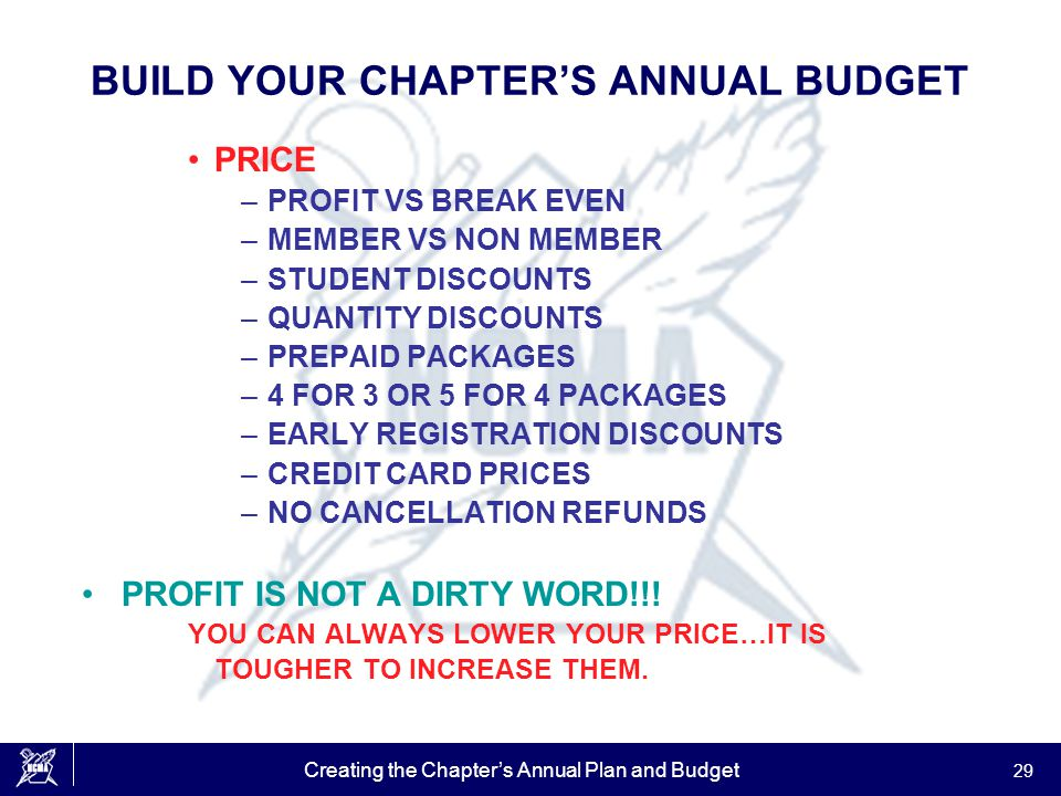 Creating the Chapter's Annual Plan and Budget 29 BUILD YOUR CHAPTER'S ANNUAL BUDGET PRICE –PROFIT VS BREAK EVEN –MEMBER VS NON MEMBER –STUDENT DISCOUN