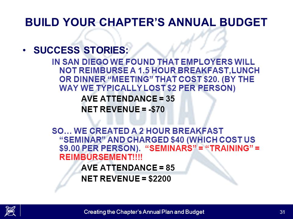 Creating the Chapter's Annual Plan and Budget 31 BUILD YOUR CHAPTER'S ANNUAL BUDGET SUCCESS STORIES: IN SAN DIEGO WE FOUND THAT EMPLOYERS WILL NOT REIMBURSE A 1.5 HOUR BREAKFAST,LUNCH OR DINNER MEETING THAT COST $20.