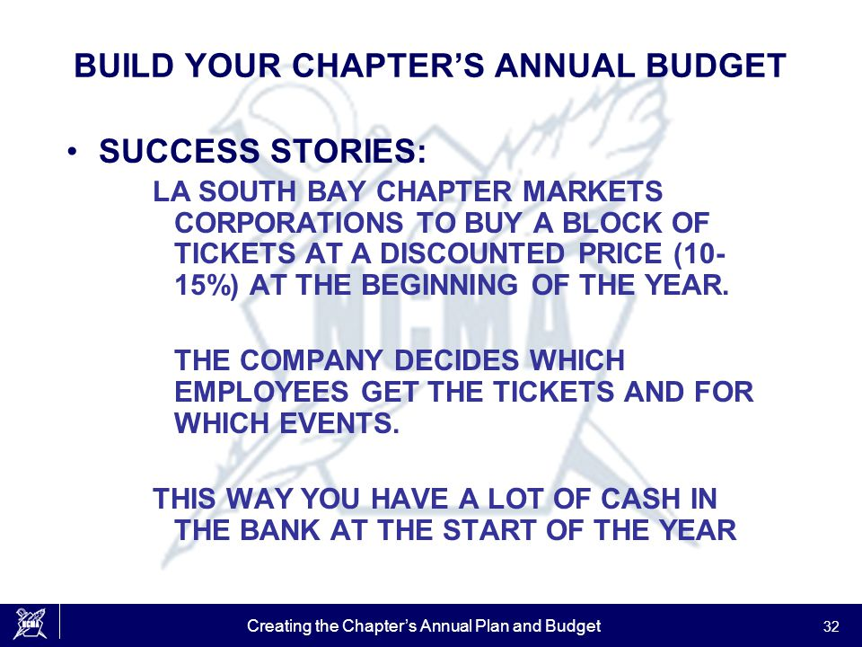 Creating the Chapter's Annual Plan and Budget 32 BUILD YOUR CHAPTER'S ANNUAL BUDGET SUCCESS STORIES: LA SOUTH BAY CHAPTER MARKETS CORPORATIONS TO BUY