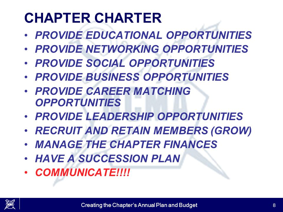 Creating the Chapter's Annual Plan and Budget 29 BUILD YOUR CHAPTER'S ANNUAL BUDGET PRICE –PROFIT VS BREAK EVEN –MEMBER VS NON MEMBER –STUDENT DISCOUNTS –QUANTITY DISCOUNTS –PREPAID PACKAGES –4 FOR 3 OR 5 FOR 4 PACKAGES –EARLY REGISTRATION DISCOUNTS –CREDIT CARD PRICES –NO CANCELLATION REFUNDS PROFIT IS NOT A DIRTY WORD!!.