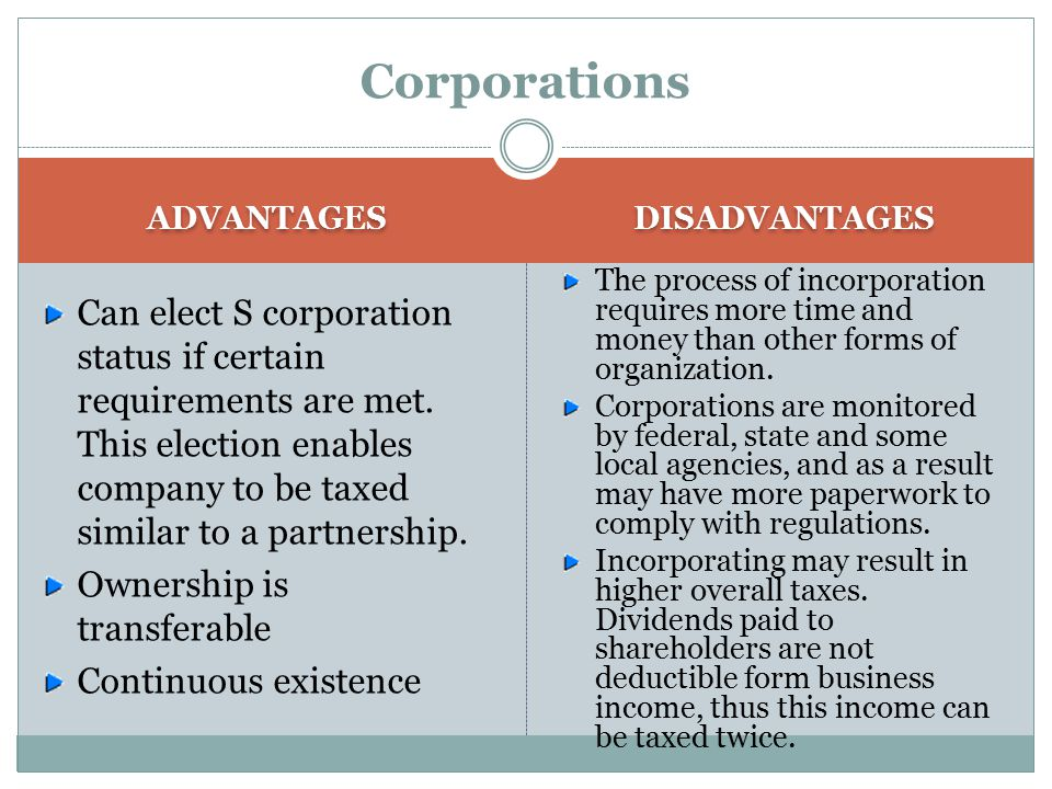 Corporations ADVANTAGES Shareholders have limited liability for the corporation's debts or judgments against the corporations. Shareholders can only b