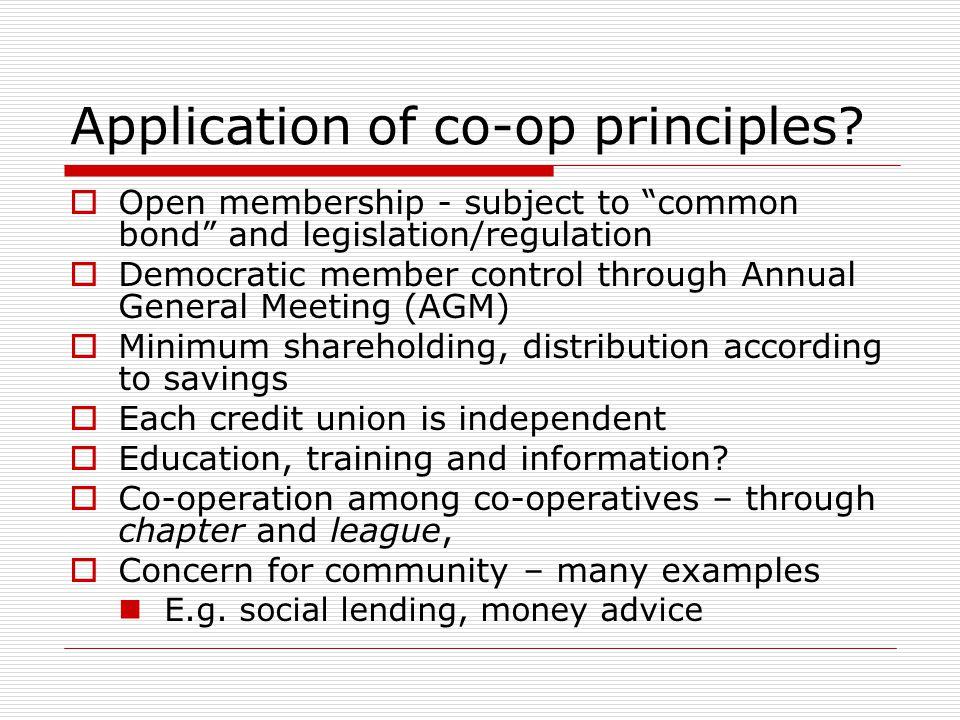 Application of co-op principles.