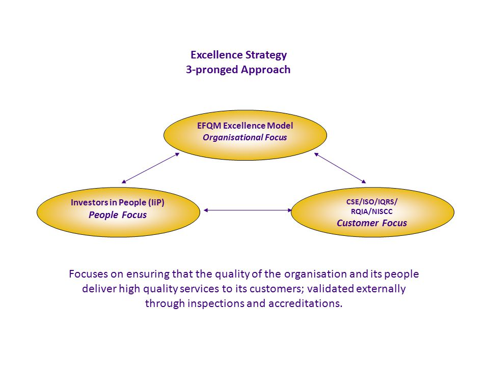 EFQM Excellence Model Organisational Focus Investors in People (IiP) People Focus CSE/ISO/IQRS/ RQIA/NISCC Customer Focus Excellence Strategy 3-pronged Approach Focuses on ensuring that the quality of the organisation and its people deliver high quality services to its customers; validated externally through inspections and accreditations.