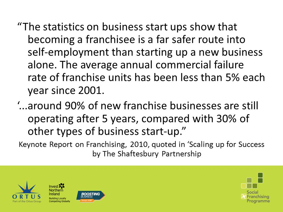 The statistics on business start ups show that becoming a franchisee is a far safer route into self-employment than starting up a new business alone.