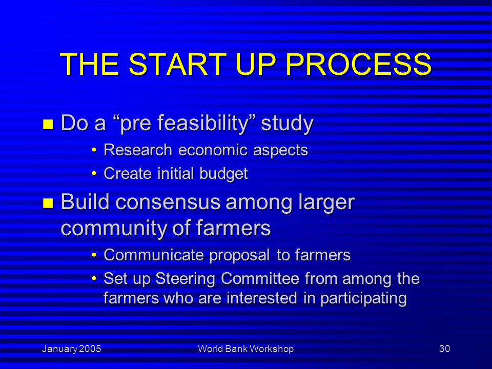 January 2005World Bank Workshop30 THE START UP PROCESS n Do a pre feasibility study Research economic aspectsResearch economic aspects Create initial budgetCreate initial budget n Build consensus among larger community of farmers Communicate proposal to farmersCommunicate proposal to farmers Set up Steering Committee from among the farmers who are interested in participatingSet up Steering Committee from among the farmers who are interested in participating