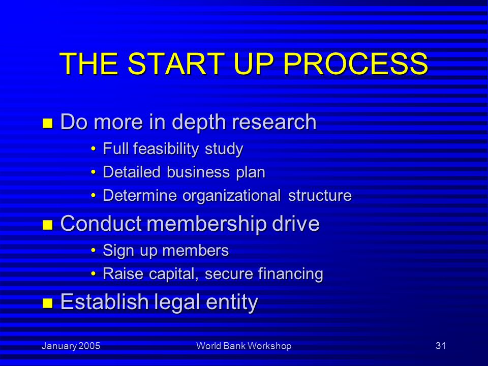 January 2005World Bank Workshop31 THE START UP PROCESS n Do more in depth research Full feasibility studyFull feasibility study Detailed business planDetailed business plan Determine organizational structureDetermine organizational structure n Conduct membership drive Sign up membersSign up members Raise capital, secure financingRaise capital, secure financing n Establish legal entity