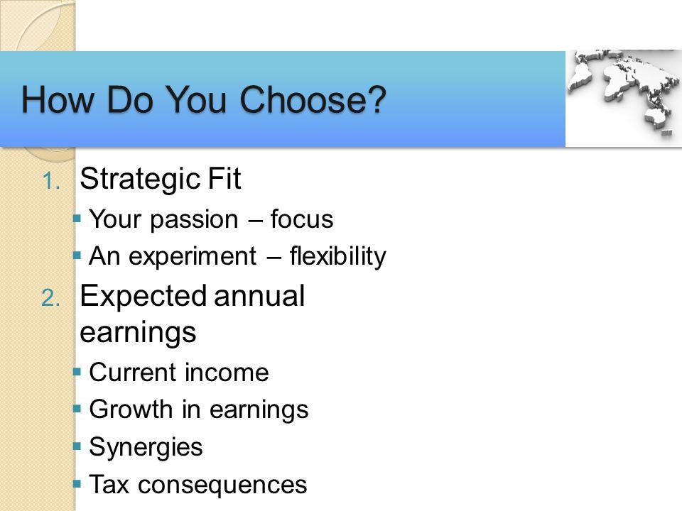 1. Strategic Fit  Your passion – focus  An experiment – flexibility 2.