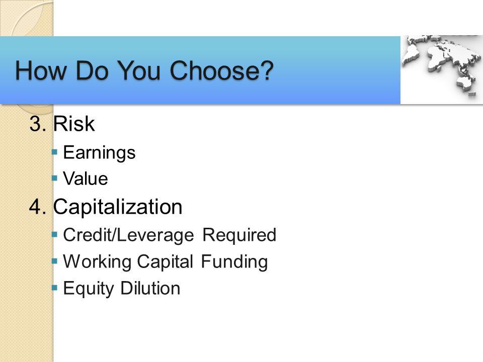 3. Risk  Earnings  Value 4.