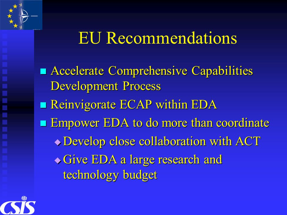 EU Recommendations Accelerate Comprehensive Capabilities Development Process Accelerate Comprehensive Capabilities Development Process Reinvigorate ECAP within EDA Reinvigorate ECAP within EDA Empower EDA to do more than coordinate Empower EDA to do more than coordinate  Develop close collaboration with ACT  Give EDA a large research and technology budget
