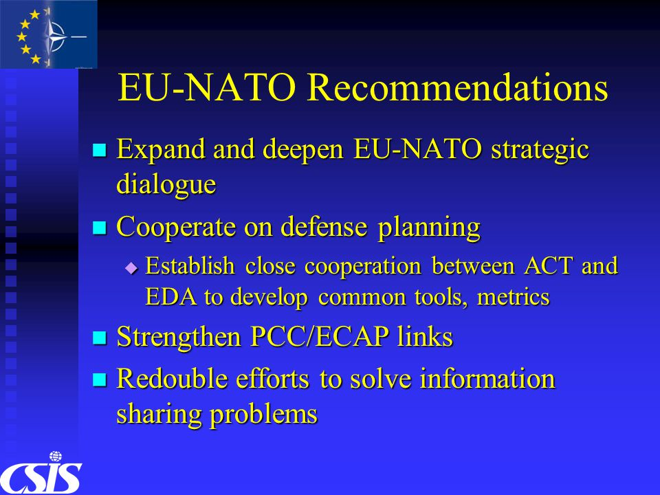 EU-NATO Recommendations Expand and deepen EU-NATO strategic dialogue Expand and deepen EU-NATO strategic dialogue Cooperate on defense planning Cooperate on defense planning  Establish close cooperation between ACT and EDA to develop common tools, metrics Strengthen PCC/ECAP links Strengthen PCC/ECAP links Redouble efforts to solve information sharing problems Redouble efforts to solve information sharing problems
