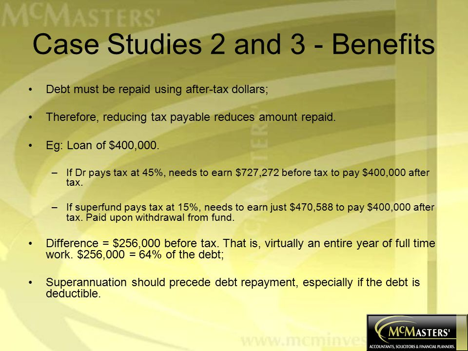 Case Studies 2 and 3 - Benefits Debt must be repaid using after-tax dollars; Therefore, reducing tax payable reduces amount repaid.