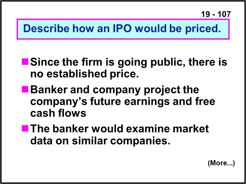 19 - 107 Since the firm is going public, there is no established price.
