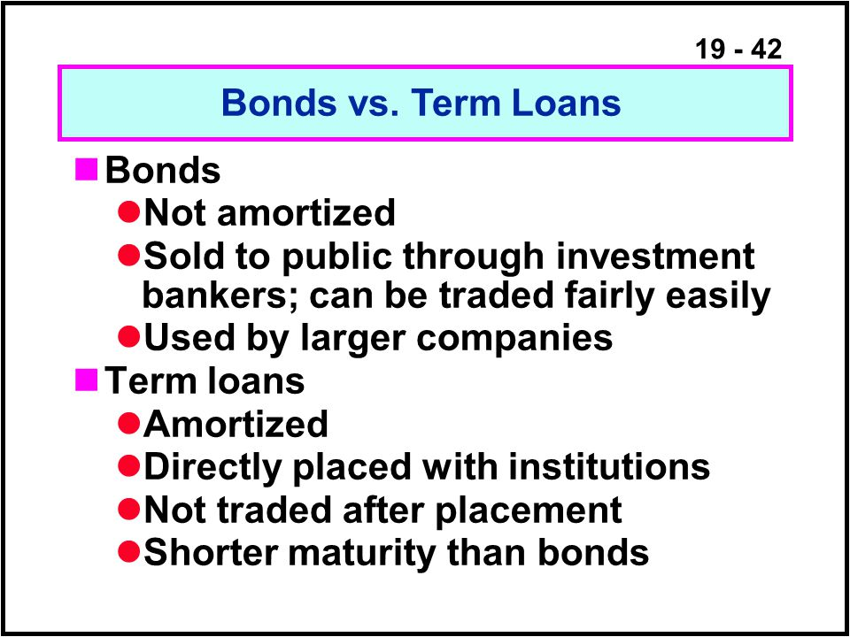 19 - 42 Bonds Not amortized Sold to public through investment bankers; can be traded fairly easily Used by larger companies Term loans Amortized Directly placed with institutions Not traded after placement Shorter maturity than bonds Bonds vs.