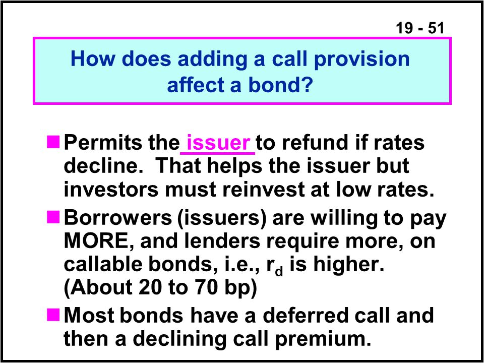 19 - 51 Permits the issuer to refund if rates decline.