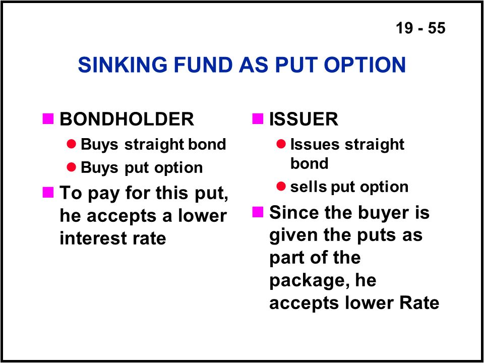 19 - 55 SINKING FUND AS PUT OPTION BONDHOLDER Buys straight bond Buys put option To pay for this put, he accepts a lower interest rate ISSUER Issues straight bond sells put option Since the buyer is given the puts as part of the package, he accepts lower Rate