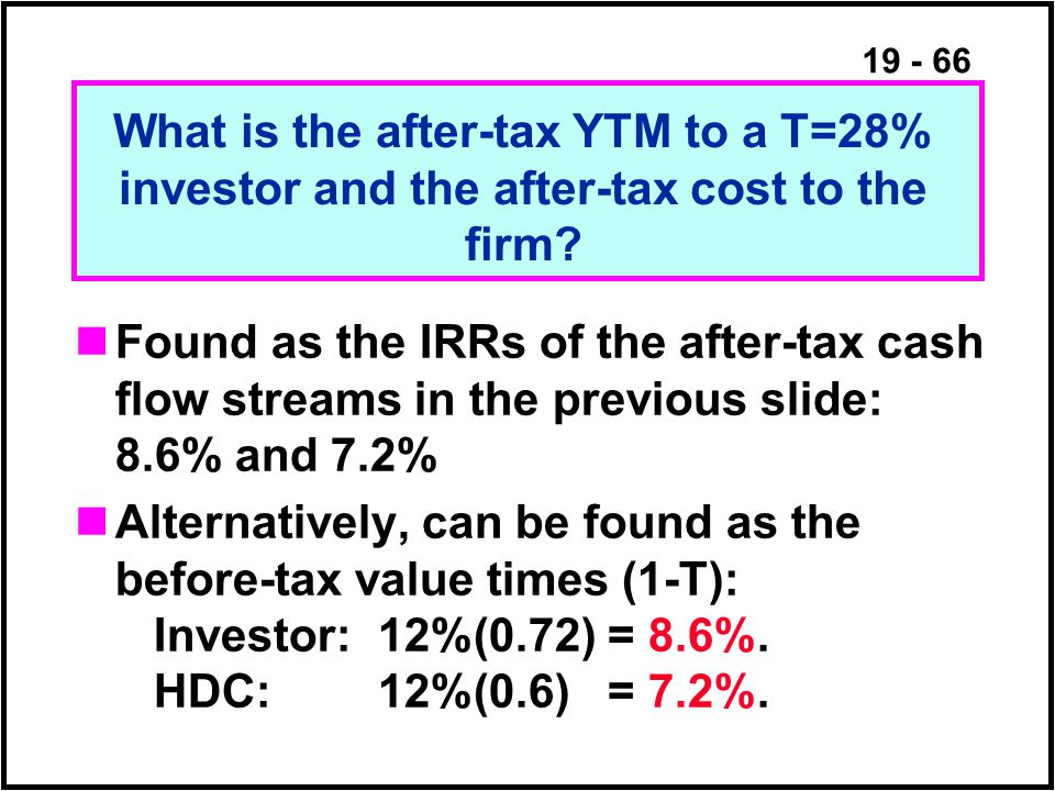 19 - 66 Found as the IRRs of the after-tax cash flow streams in the previous slide: 8.6% and 7.2% Alternatively, can be found as the before-tax value times (1-T): Investor:12%(0.72)= 8.6%.