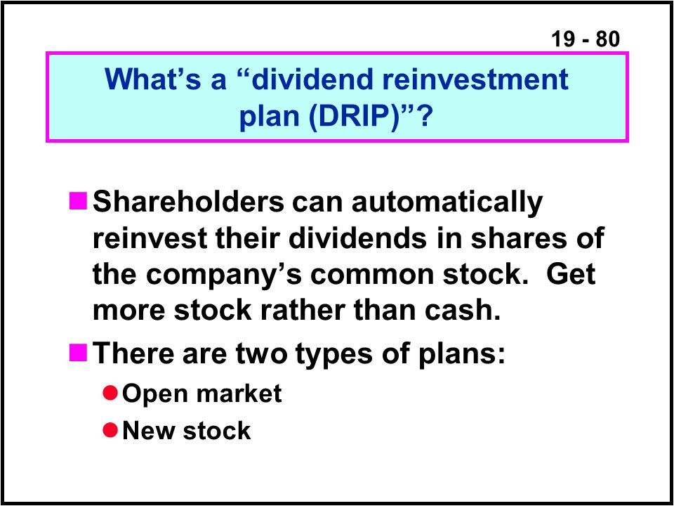 19 - 80 What's a dividend reinvestment plan (DRIP) .