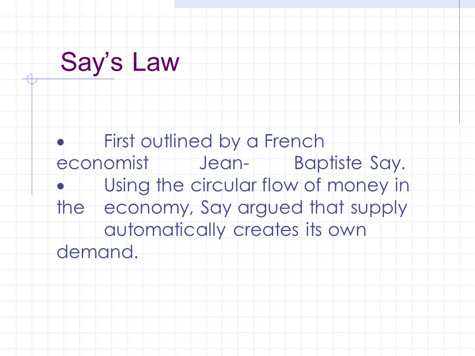 Say's Law  First outlined by a French economist Jean-Baptiste Say.