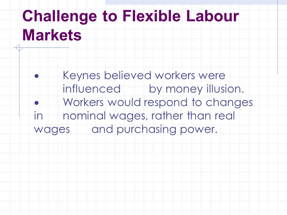 Challenge to Flexible Labour Markets  Keynes believed workers were influenced by money illusion.