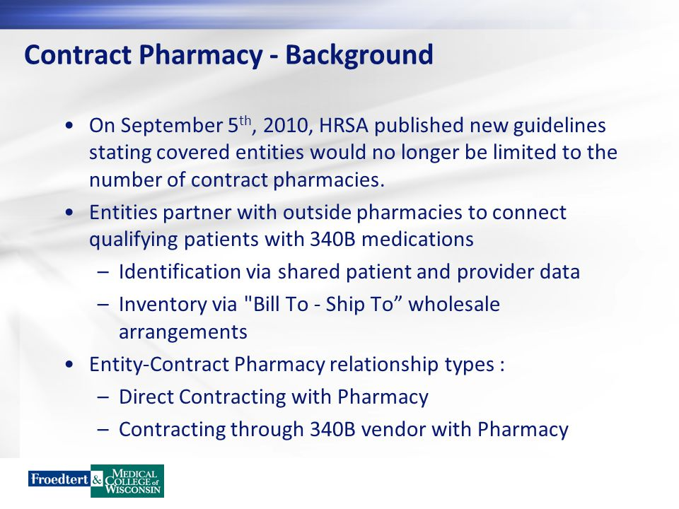 Contract Pharmacy - Reinvest Inventory compliance technician Patient assistance programs Indigent care fund Ambulatory care pharmacists dedicated to transitions of care