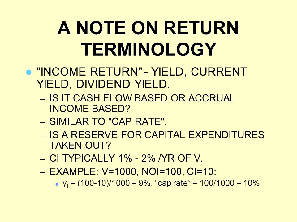 A NOTE ON RETURN TERMINOLOGY