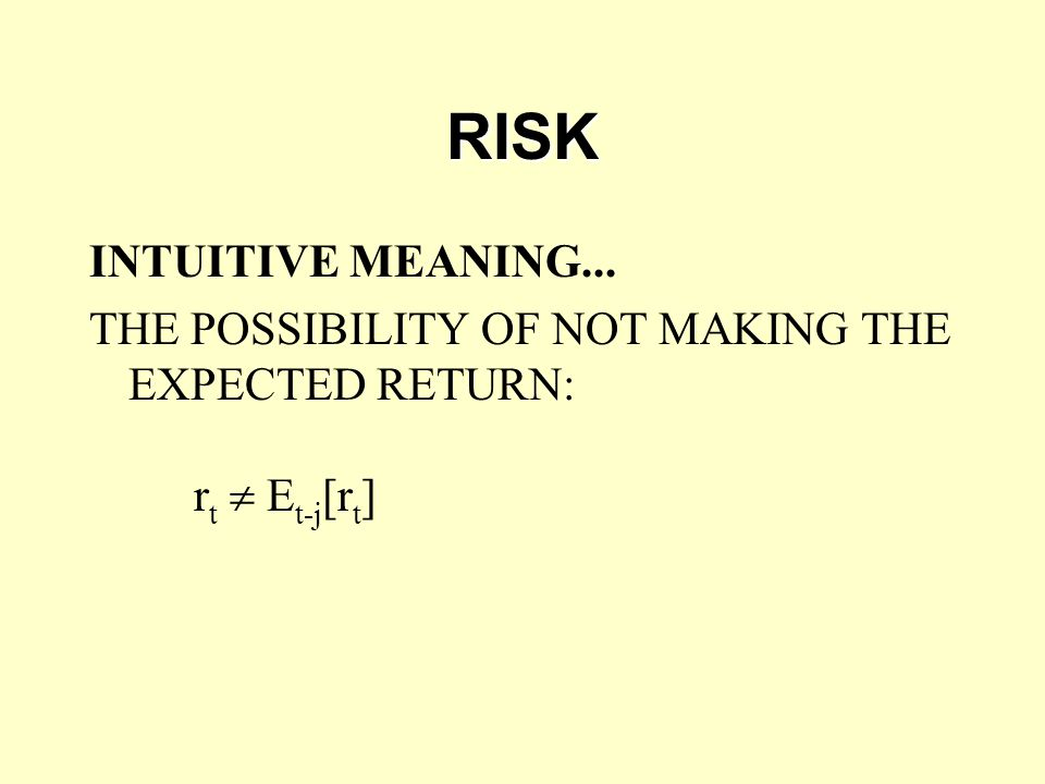 RISK INTUITIVE MEANING... THE POSSIBILITY OF NOT MAKING THE EXPECTED RETURN: r t  E t-j [r t ]