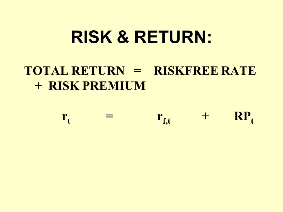RISK & RETURN: TOTAL RETURN = RISKFREE RATE + RISK PREMIUM r t = r f,t + RP t