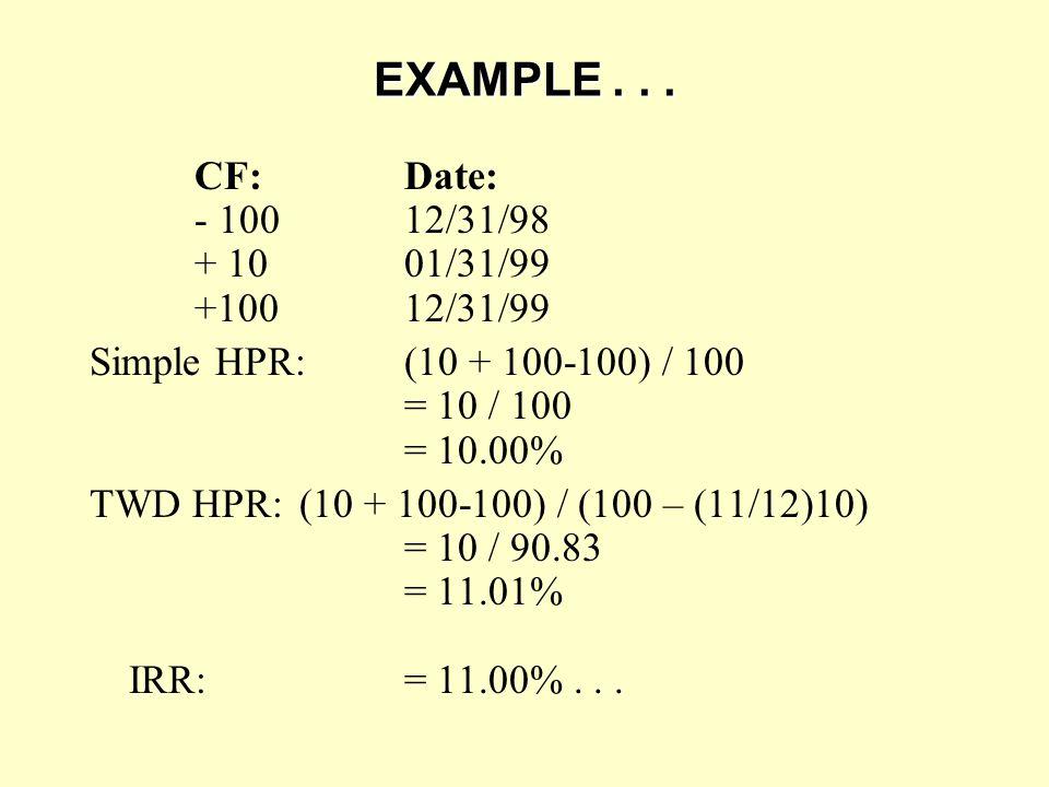 EXAMPLE... CF:Date: - 10012/31/98 + 1001/31/99 +10012/31/99 Simple HPR:(10 + 100-100) / 100 = 10 / 100 = 10.00% TWD HPR: (10 + 100-100) / (100 – (11/1