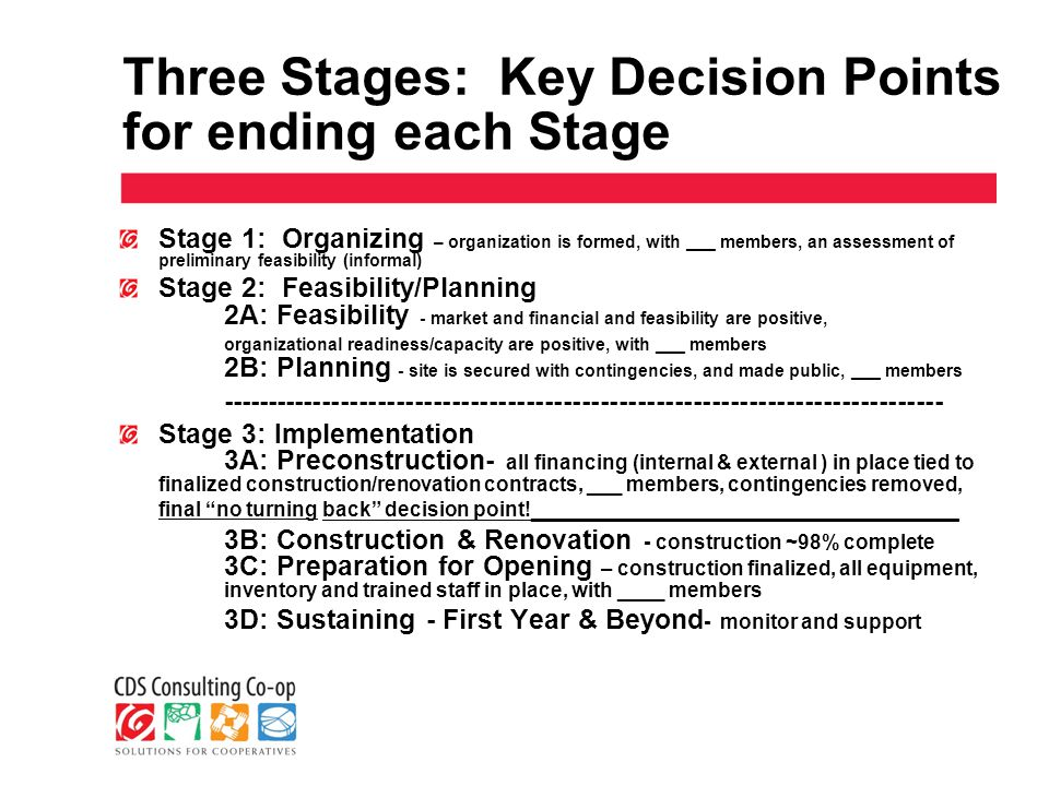 Three Stages: Key Decision Points for ending each Stage Stage 1: Organizing – organization is formed, with ___ members, an assessment of preliminary feasibility (informal) Stage 2: Feasibility/Planning 2A: Feasibility - market and financial and feasibility are positive, organizational readiness/capacity are positive, with ___ members 2B: Planning - site is secured with contingencies, and made public, ___ members ------------------------------------------------------------------------------ Stage 3: Implementation 3A: Preconstruction- all financing (internal & external ) in place tied to finalized construction/renovation contracts, ___ members, contingencies removed, final no turning back decision point.
