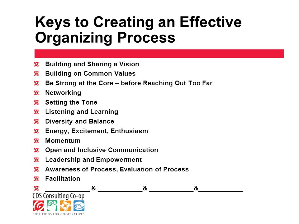 Keys to Creating an Effective Organizing Process Building and Sharing a Vision Building on Common Values Be Strong at the Core – before Reaching Out Too Far Networking Setting the Tone Listening and Learning Diversity and Balance Energy, Excitement, Enthusiasm Momentum Open and Inclusive Communication Leadership and Empowerment Awareness of Process, Evaluation of Process Facilitation ____________ & ____________& ____________&____________