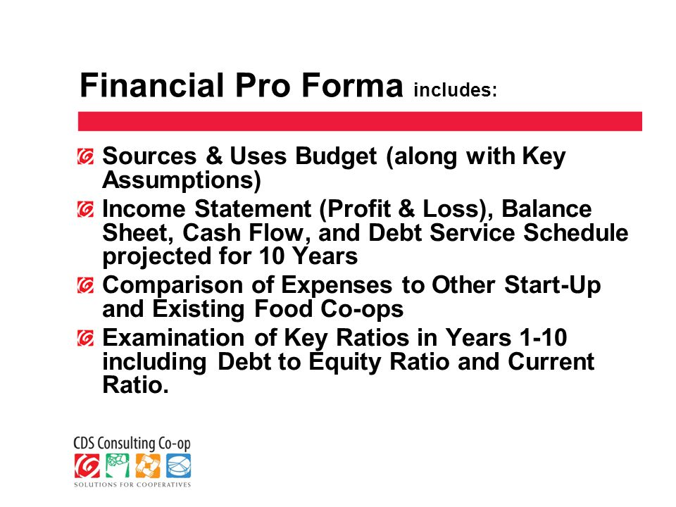 Financial Pro Forma includes: Sources & Uses Budget (along with Key Assumptions) Income Statement (Profit & Loss), Balance Sheet, Cash Flow, and Debt Service Schedule projected for 10 Years Comparison of Expenses to Other Start-Up and Existing Food Co-ops Examination of Key Ratios in Years 1-10 including Debt to Equity Ratio and Current Ratio.