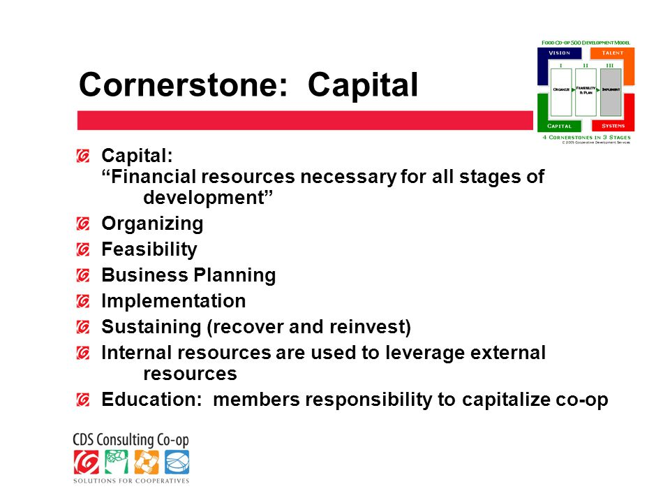 Cornerstone: Capital Capital: Financial resources necessary for all stages of development Organizing Feasibility Business Planning Implementation Sustaining (recover and reinvest) Internal resources are used to leverage external resources Education: members responsibility to capitalize co-op