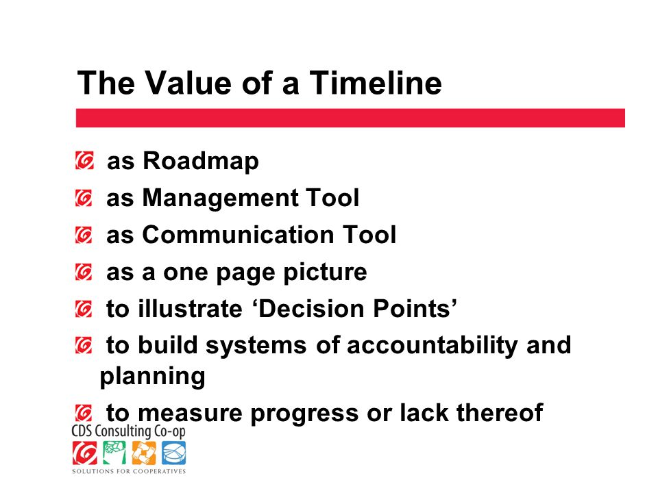 The Value of a Timeline as Roadmap as Management Tool as Communication Tool as a one page picture to illustrate 'Decision Points' to build systems of accountability and planning to measure progress or lack thereof