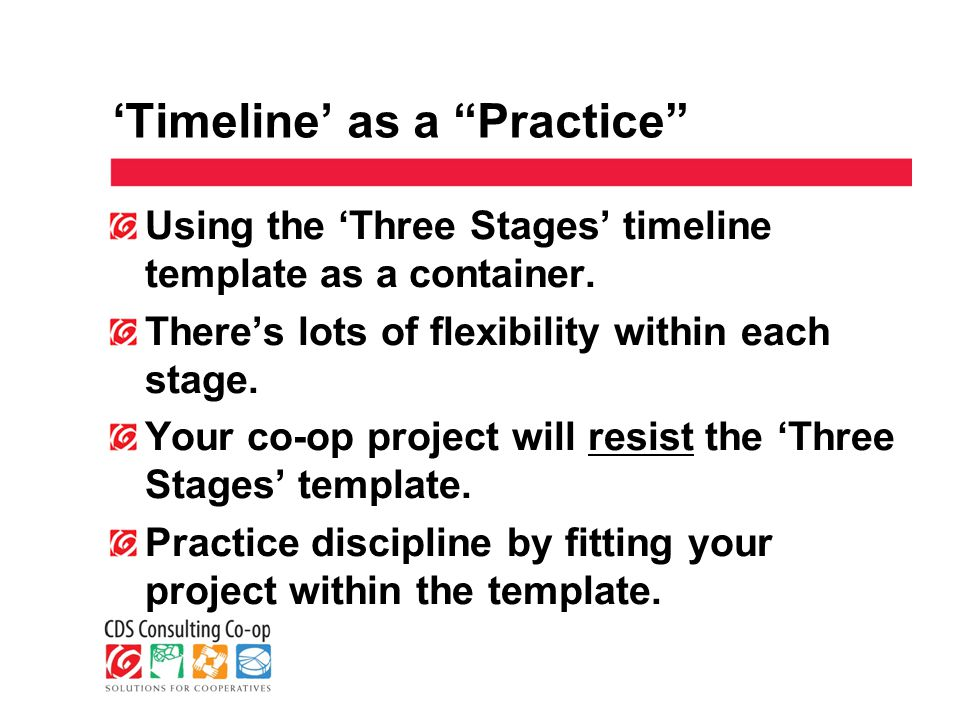 'Timeline' as a Practice Using the 'Three Stages' timeline template as a container.