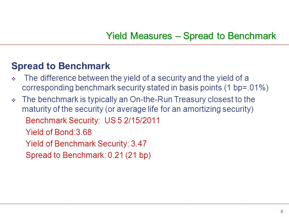 6 Yield Measures – Spread to Benchmark Spread to Benchmark  The difference between the yield of a security and the yield of a corresponding benchmark