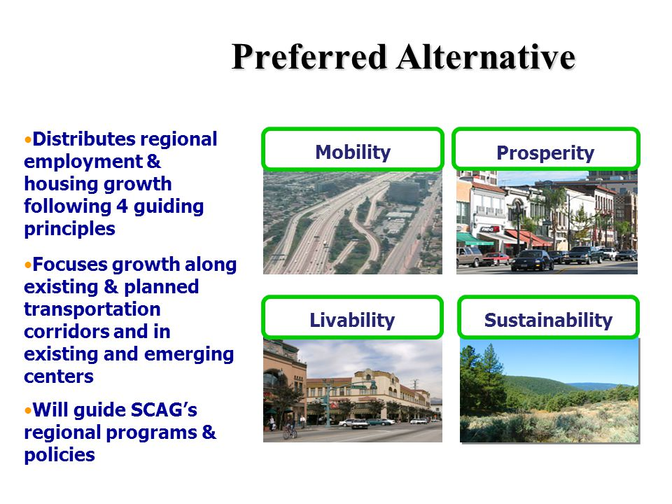 Preferred Alternative Sustainability Mobility Prosperity Distributes regional employment & housing growth following 4 guiding principles Focuses growth along existing & planned transportation corridors and in existing and emerging centers Will guide SCAG's regional programs & policies Livability