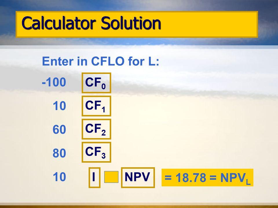 Calculator Solution Enter in CFLO for L: -100 10 60 80 10 CF 0 CF 1 NPV CF 2 CF 3 I = 18.78 = NPV L