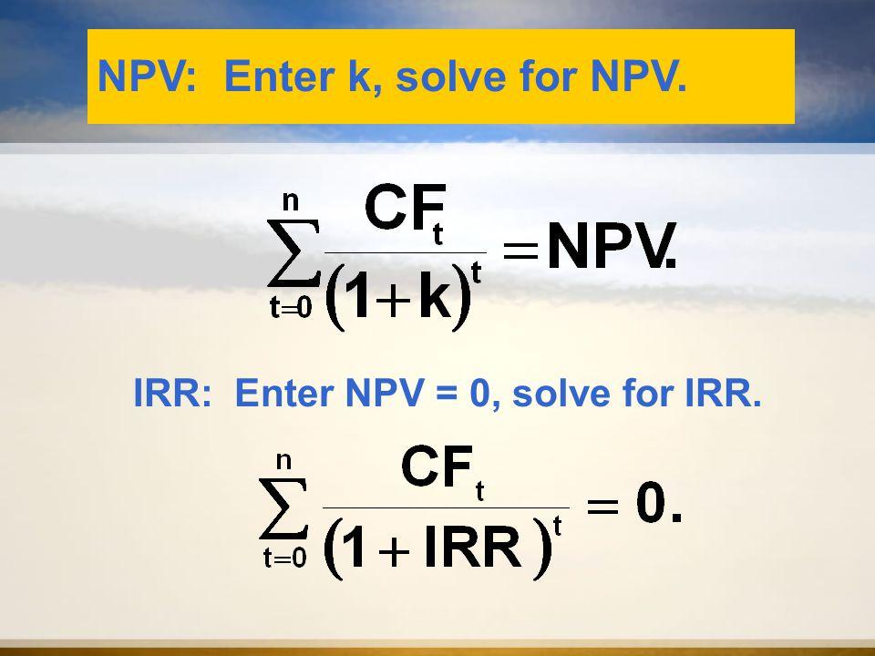NPV: Enter k, solve for NPV. IRR: Enter NPV = 0, solve for IRR.