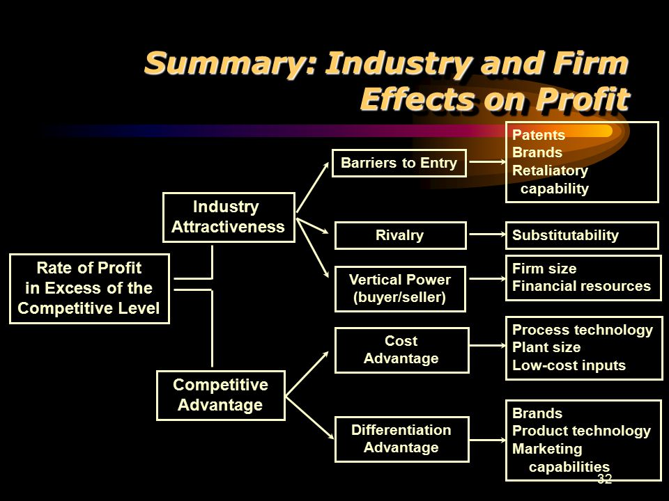 32 Rate of Profit in Excess of the Competitive Level Industry Attractiveness Competitive Advantage Differentiation Advantage Cost Advantage Vertical P
