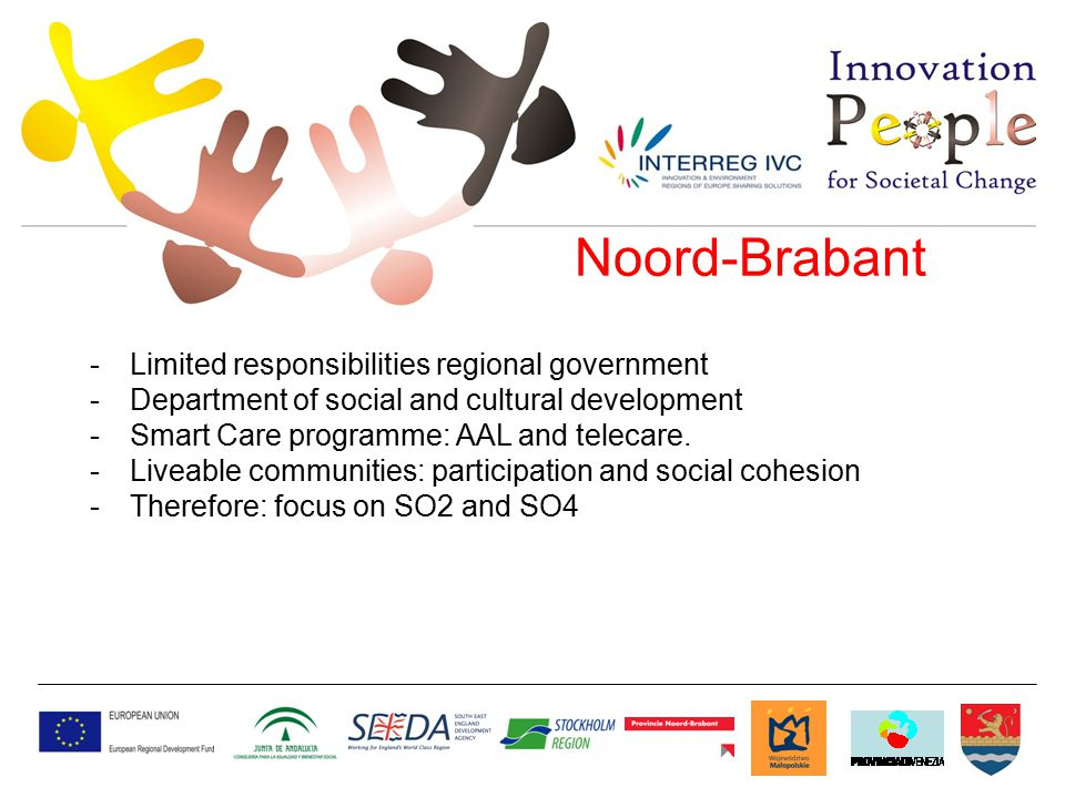 Noord-Brabant -Limited responsibilities regional government -Department of social and cultural development -Smart Care programme: AAL and telecare.