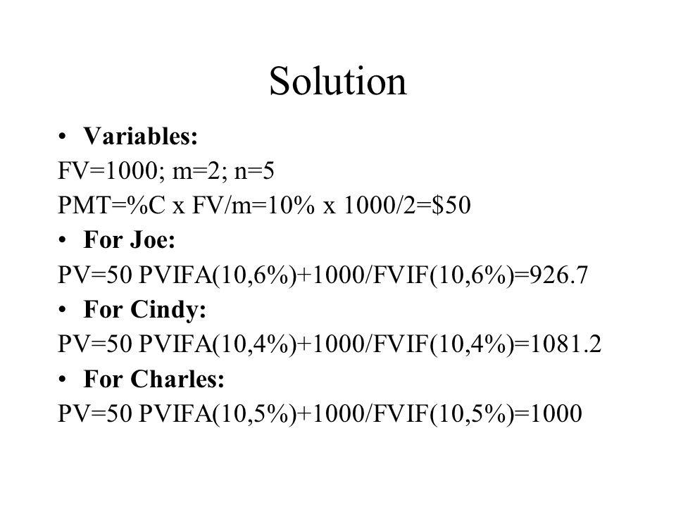 Solution Variables: FV=1000; m=2; n=5 PMT=%C x FV/m=10% x 1000/2=$50 For Joe: PV=50 PVIFA(10,6%)+1000/FVIF(10,6%)=926.7 For Cindy: PV=50 PVIFA(10,4%)+1000/FVIF(10,4%)=1081.2 For Charles: PV=50 PVIFA(10,5%)+1000/FVIF(10,5%)=1000
