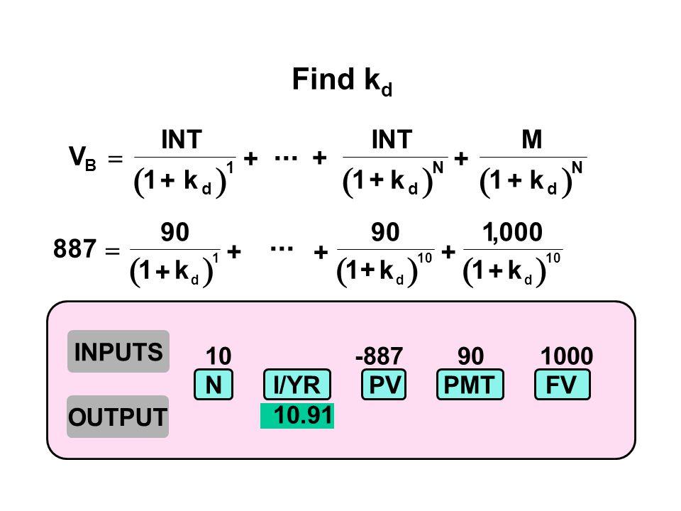 10 -887 90 1000 NI/YR PV PMTFV 10.91  V INT k M k B d N d N  11 1...