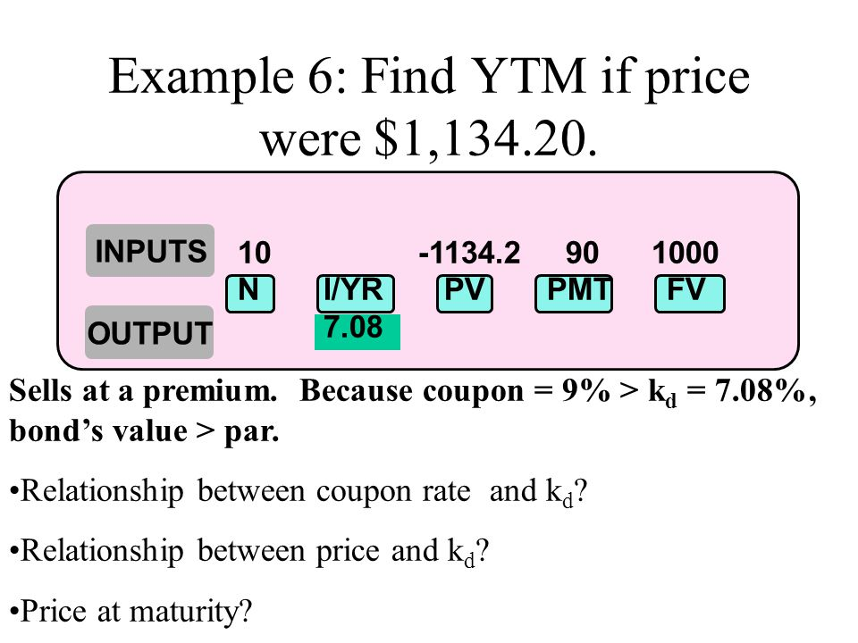 Example 6: Find YTM if price were $1,134.20.